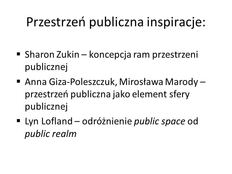Przestrzeń publiczna inspiracje: Sharon Zukin – koncepcja ram przestrzeni publicznej Anna Giza-Poleszczuk, Mirosława Marody – przestrzeń publiczna jak