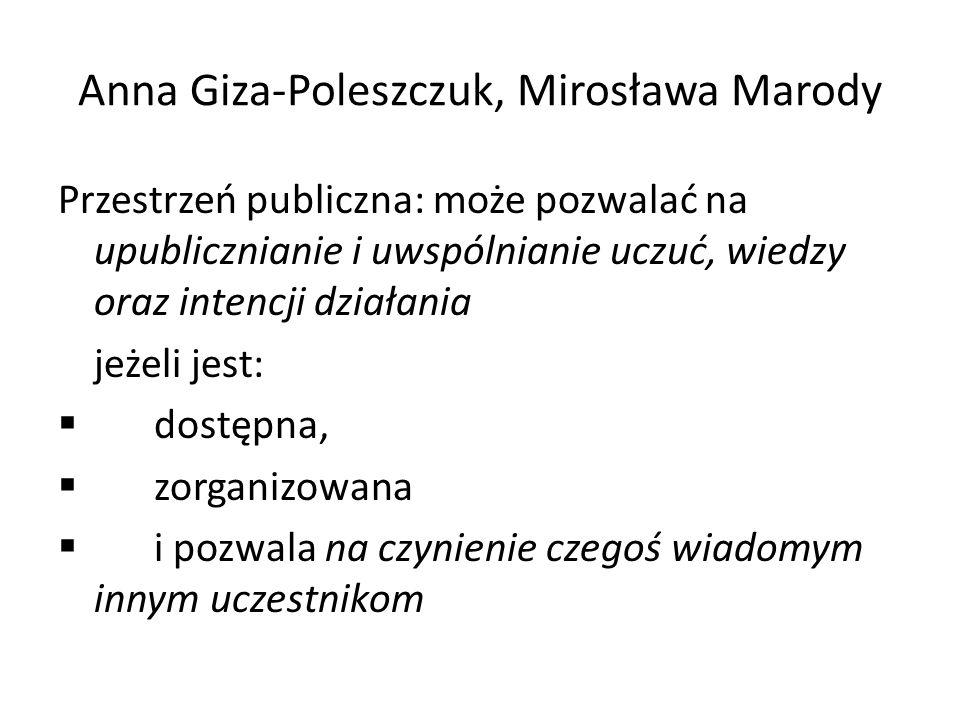 Anna Giza-Poleszczuk, Mirosława Marody Przestrzeń publiczna: może pozwalać na upublicznianie i uwspólnianie uczuć, wiedzy oraz intencji działania jeże