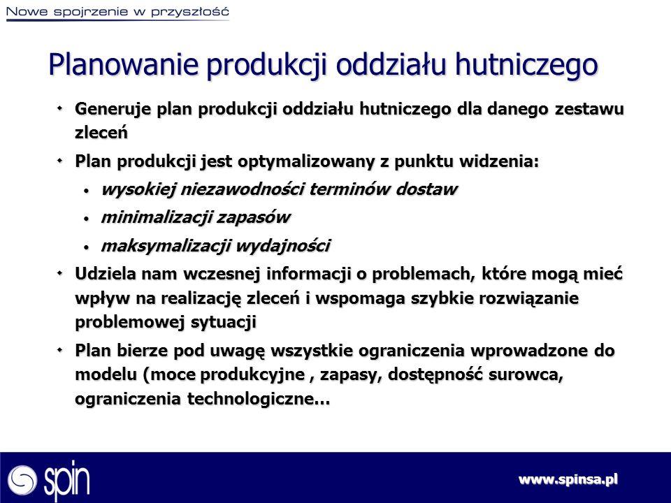 www.spinsa.pl ٠ Generuje plan produkcji oddziału hutniczego dla danego zestawu zleceń ٠ Plan produkcji jest optymalizowany z punktu widzenia: wysokiej