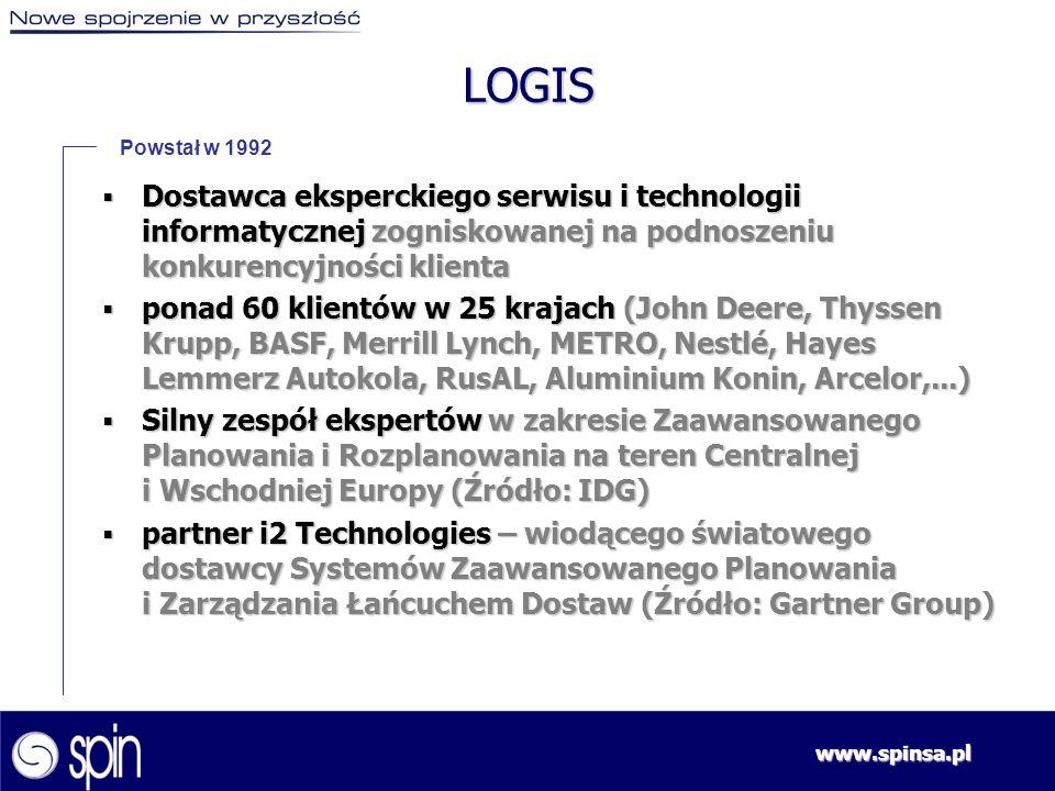www.spinsa.pl LOGIS Powstał w 1992 Dostawca eksperckiego serwisu i technologii informatycznej zogniskowanej na podnoszeniu konkurencyjności klienta Do