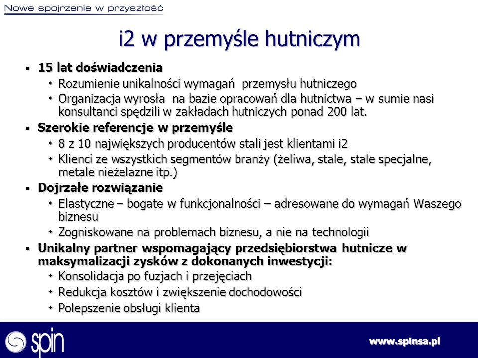 www.spinsa.pl Kluczowe obszary procesowe w koncernie hutniczym wspierane rozwiązaniem i2 Zintegrowane planowanie produkcji oraz sprzedaży Realizacja zamówień Umożliwia dokładne i niezawodne spojrzenie na wymagania rynkowe poprzez identyfikację tendencji rynkowych oraz prognozowanie zmian oczekiwań klientów Zapewnia przygotowanie organizacji do realizacji prognozowanego zbytu poprzez wytworzenie zyskownych planów dostawczych, włącznie z podziałem produkcji pomiędzy poszczególnymi oddziałami produkcyjnymi Wytworzy rezerwacje dla kanałów zbytu Zapewnia szybkie, dokładne i niezawodne uzgadnianie zleceń Zapewnia realizację zleceń o wysokim stopniu niezawodności przy równoczesnym osiągnięciu maksymalnej efektywności