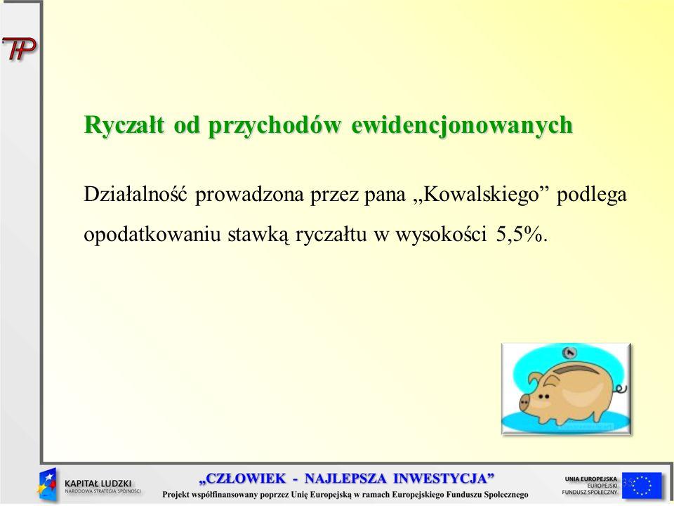 35 Ryczałt od przychodów ewidencjonowanych Działalność prowadzona przez pana Kowalskiego podlega opodatkowaniu stawką ryczałtu w wysokości 5,5%.