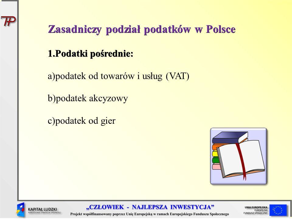 4 1.Podatki pośrednie: a)podatek od towarów i usług (VAT) b)podatek akcyzowy c)podatek od gier Zasadniczy podział podatków w Polsce