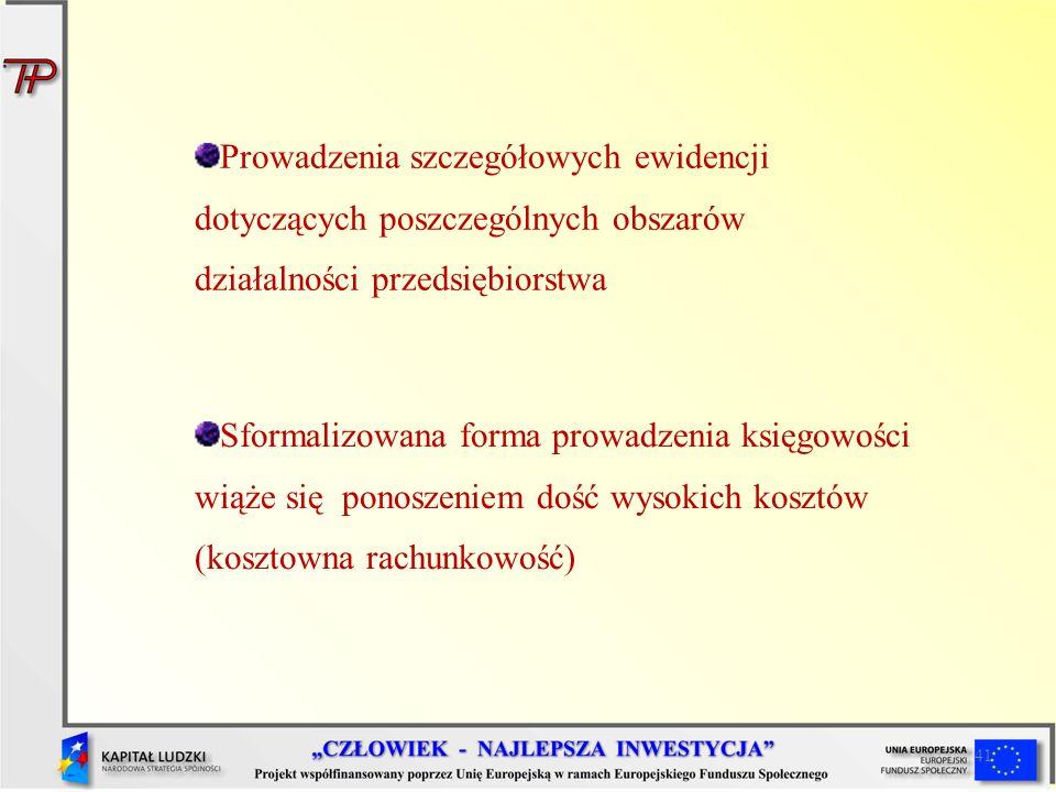 41 Prowadzenia szczegółowych ewidencji dotyczących poszczególnych obszarów działalności przedsiębiorstwa Sformalizowana forma prowadzenia księgowości