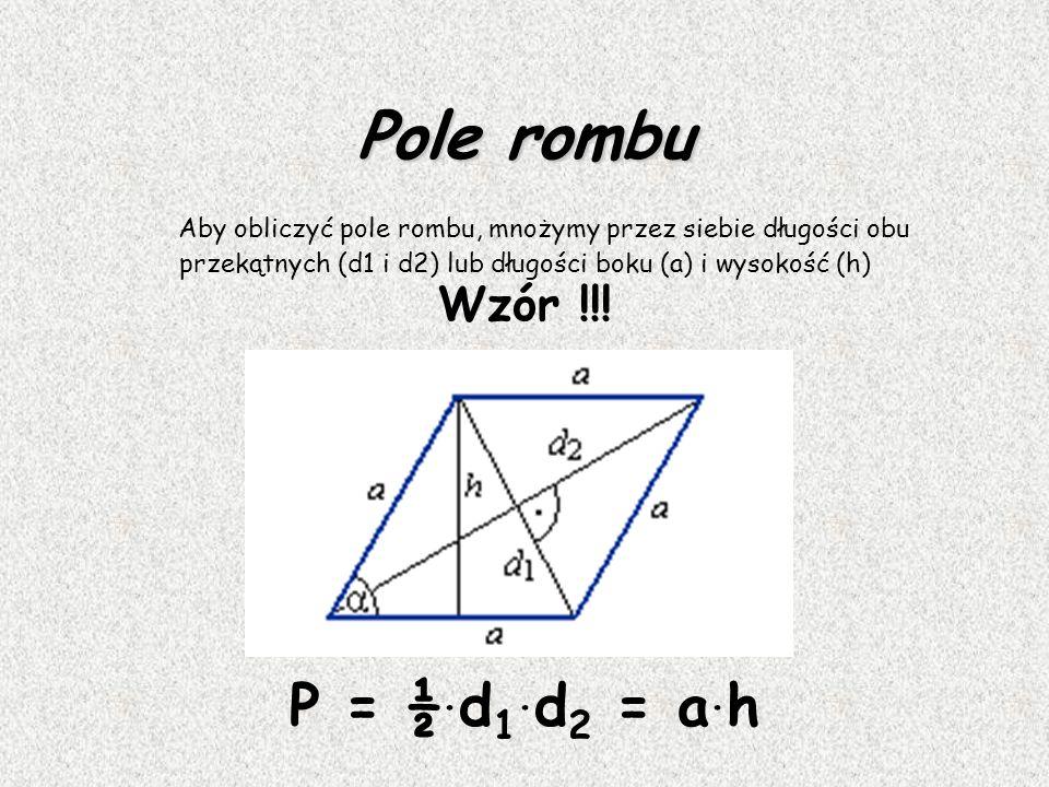 Romb Romb jest czworokątem, który ma dwie pary boków równoległych. Przekątne równoległoboku dzielą się na połowy.