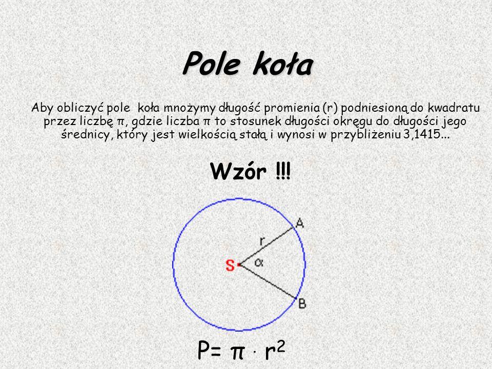 Koło Kołem o środku S i promieniu r > 0 nazywamy figurę złożoną z wszystkich punktów płaszczyzny, których odległość od środka jest nie większa niż r.