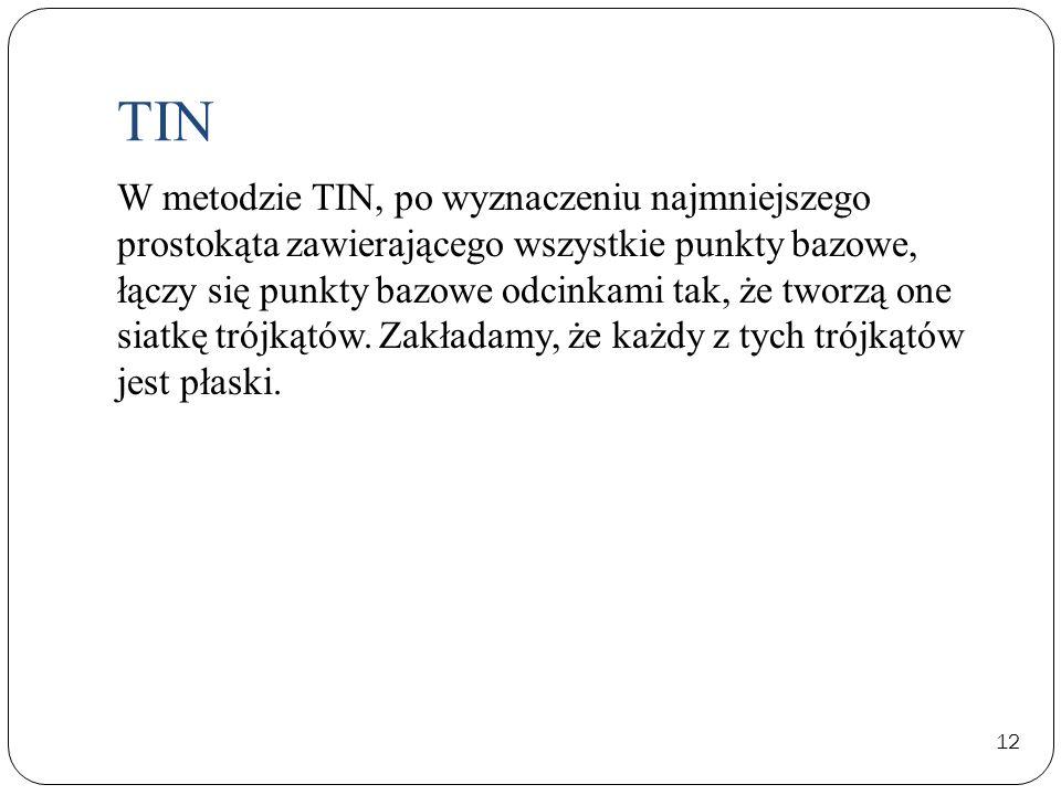 TIN 12 W metodzie TIN, po wyznaczeniu najmniejszego prostokąta zawierającego wszystkie punkty bazowe, łączy się punkty bazowe odcinkami tak, że tworzą