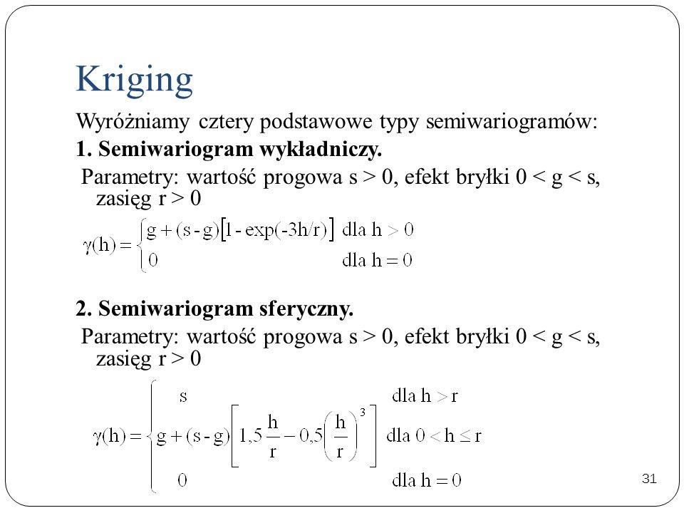 31 Wyróżniamy cztery podstawowe typy semiwariogramów: 1. Semiwariogram wykładniczy. Parametry: wartość progowa s > 0, efekt bryłki 0 0 2. Semiwariogra