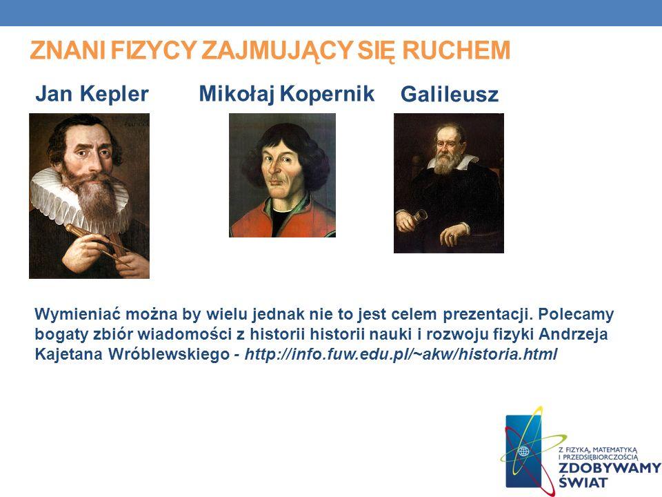 ZNANI FIZYCY ZAJMUJĄCY SIĘ RUCHEM Mikołaj KopernikJan Kepler Galileusz Wymieniać można by wielu jednak nie to jest celem prezentacji.