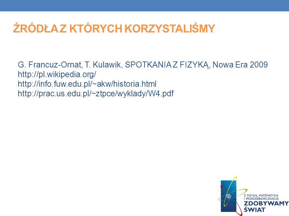 G. Francuz-Ornat, T. Kulawik, SPOTKANIA Z FIZYKĄ, Nowa Era 2009 http://pl.wikipedia.org/ http://info.fuw.edu.pl/~akw/historia.html http://prac.us.edu.