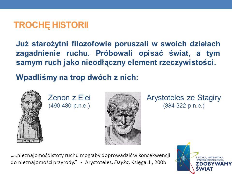 TROCHĘ HISTORII Już starożytni filozofowie poruszali w swoich dziełach zagadnienie ruchu. Próbowali opisać świat, a tym samym ruch jako nieodłączny el
