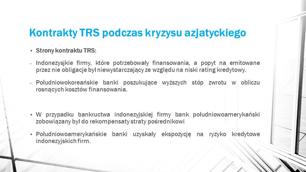 Kontrakty TRS podczas kryzysu azjatyckiego Strony kontraktu TRS: - Indonezysjkie firmy, które potrzebowały finansowania, a popyt na emitowane przez ni