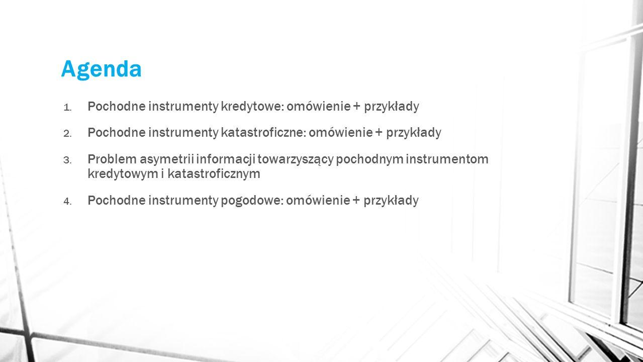 Agenda 1. Pochodne instrumenty kredytowe: omówienie + przykłady 2. Pochodne instrumenty katastroficzne: omówienie + przykłady 3. Problem asymetrii inf