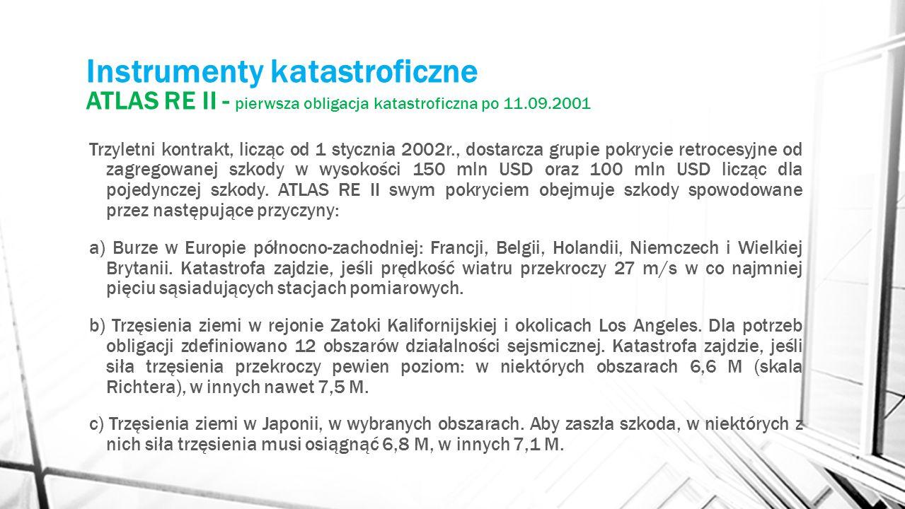 Instrumenty katastroficzne ATLAS RE II - pierwsza obligacja katastroficzna po 11.09.2001 Trzyletni kontrakt, licząc od 1 stycznia 2002r., dostarcza gr