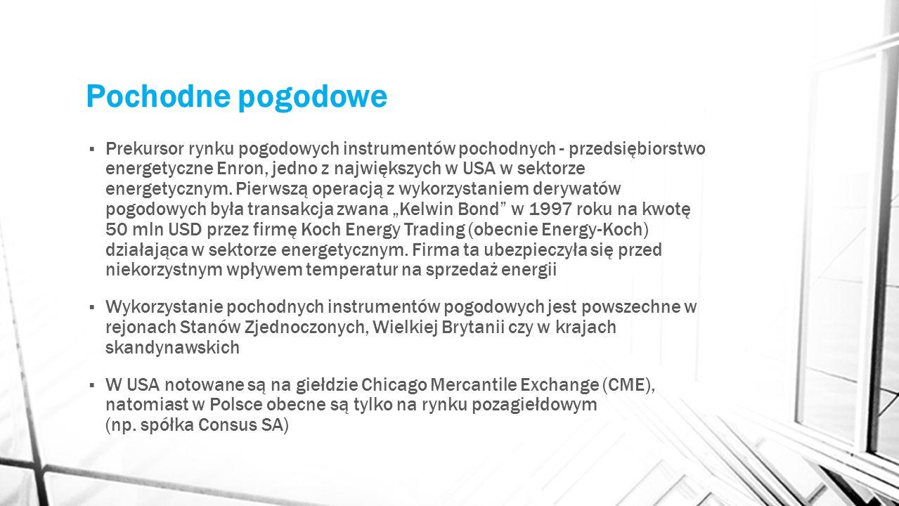 Pochodne pogodowe Prekursor rynku pogodowych instrumentów pochodnych - przedsiębiorstwo energetyczne Enron, jedno z największych w USA w sektorze ener