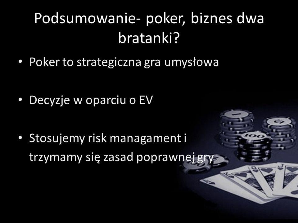 Podsumowanie- poker, biznes dwa bratanki.