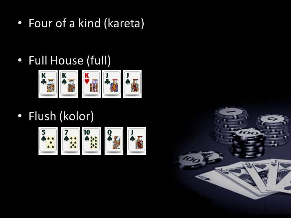 Straight (Strit) Three of a kind (trójka) Two pairs (dwie pary) One pair (jedna para) High card (najwyższa karta/ brak układu)