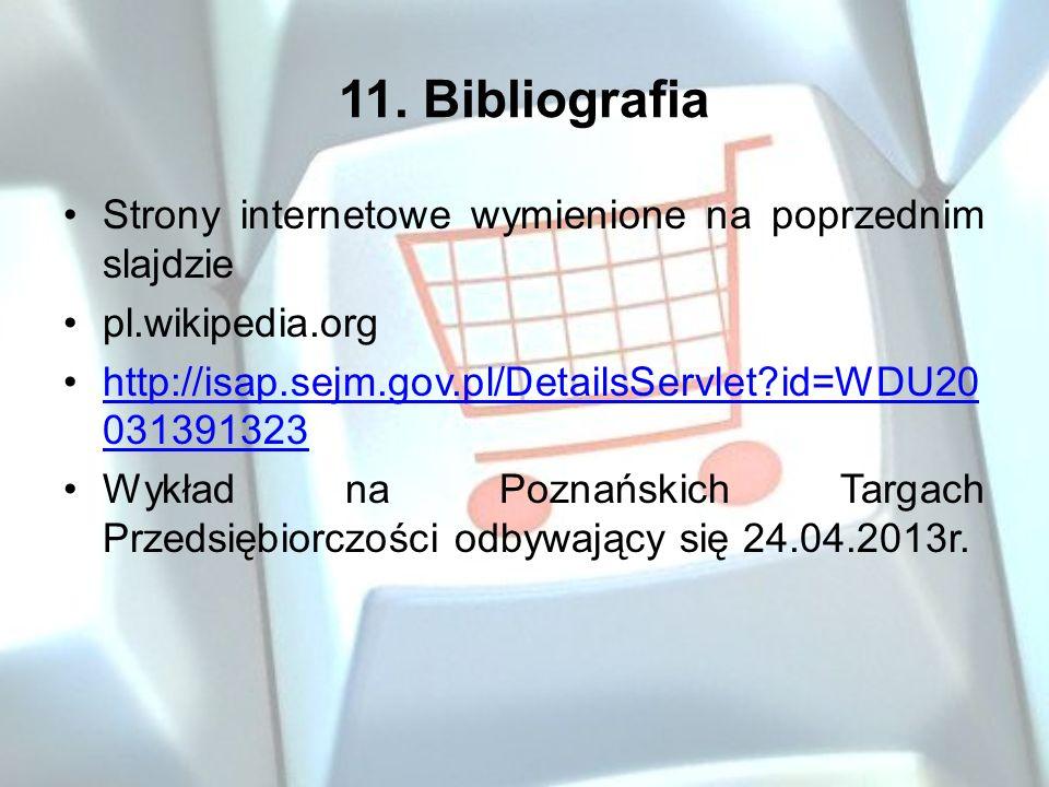 11. Bibliografia Strony internetowe wymienione na poprzednim slajdzie pl.wikipedia.org http://isap.sejm.gov.pl/DetailsServlet?id=WDU20 031391323http:/