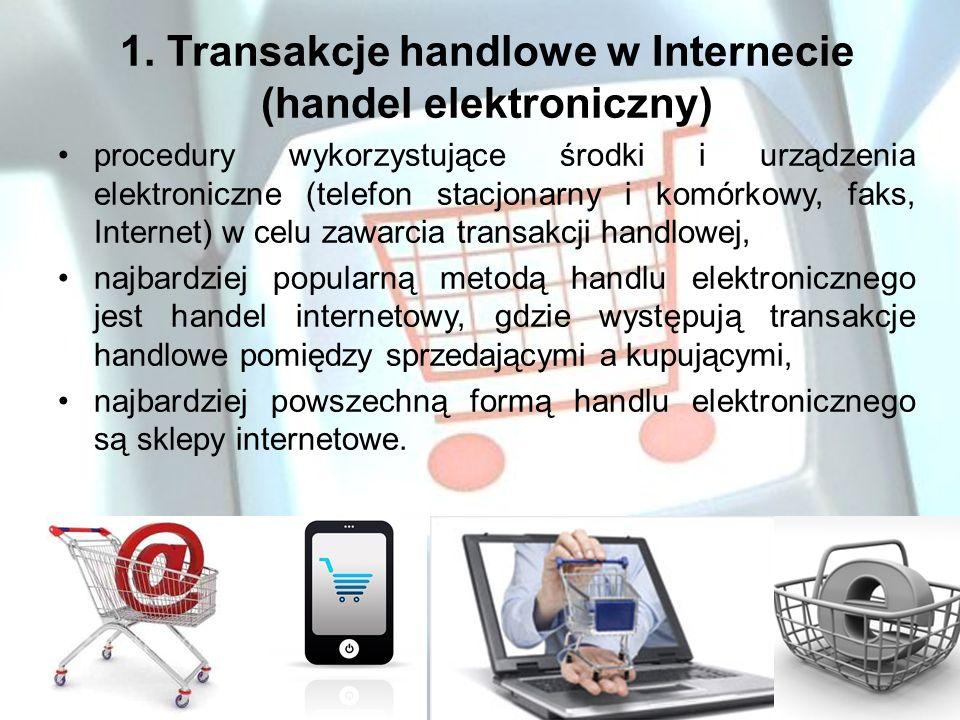 1. Transakcje handlowe w Internecie (handel elektroniczny) procedury wykorzystujące środki i urządzenia elektroniczne (telefon stacjonarny i komórkowy