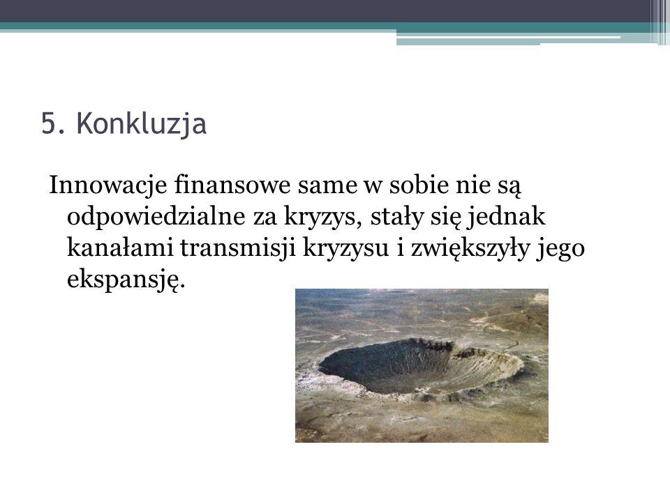 5. Konkluzja Innowacje finansowe same w sobie nie są odpowiedzialne za kryzys, stały się jednak kanałami transmisji kryzysu i zwiększyły jego ekspansj