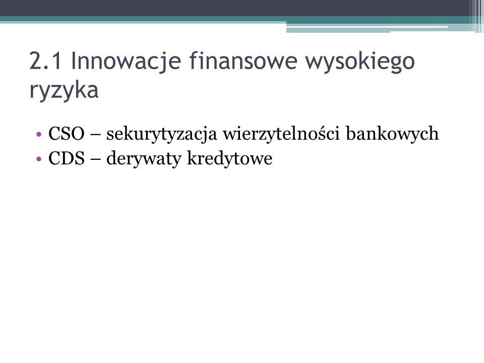2.1 Innowacje finansowe wysokiego ryzyka CSO – sekurytyzacja wierzytelności bankowych CDS – derywaty kredytowe