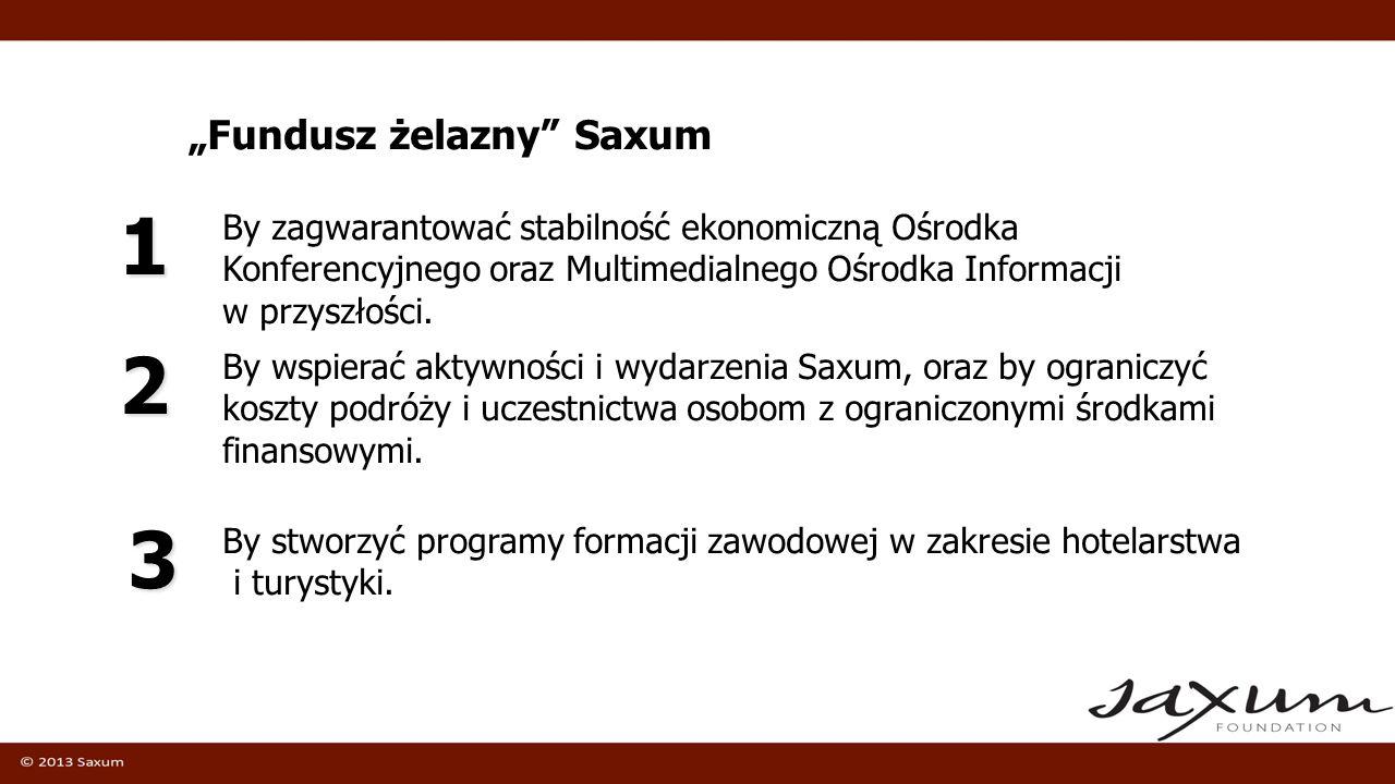 Fundusz żelazny Saxum By wspierać aktywności i wydarzenia Saxum, oraz by ograniczyć koszty podróży i uczestnictwa osobom z ograniczonymi środkami fina