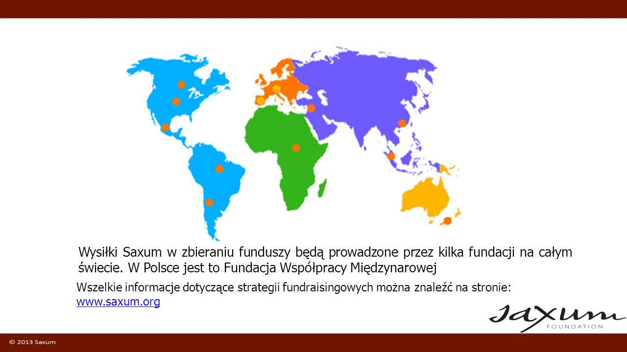 Wysiłki Saxum w zbieraniu funduszy będą prowadzone przez kilka fundacji na całym świecie. W Polsce jest to Fundacja Współpracy Międzynarowej Wszelkie