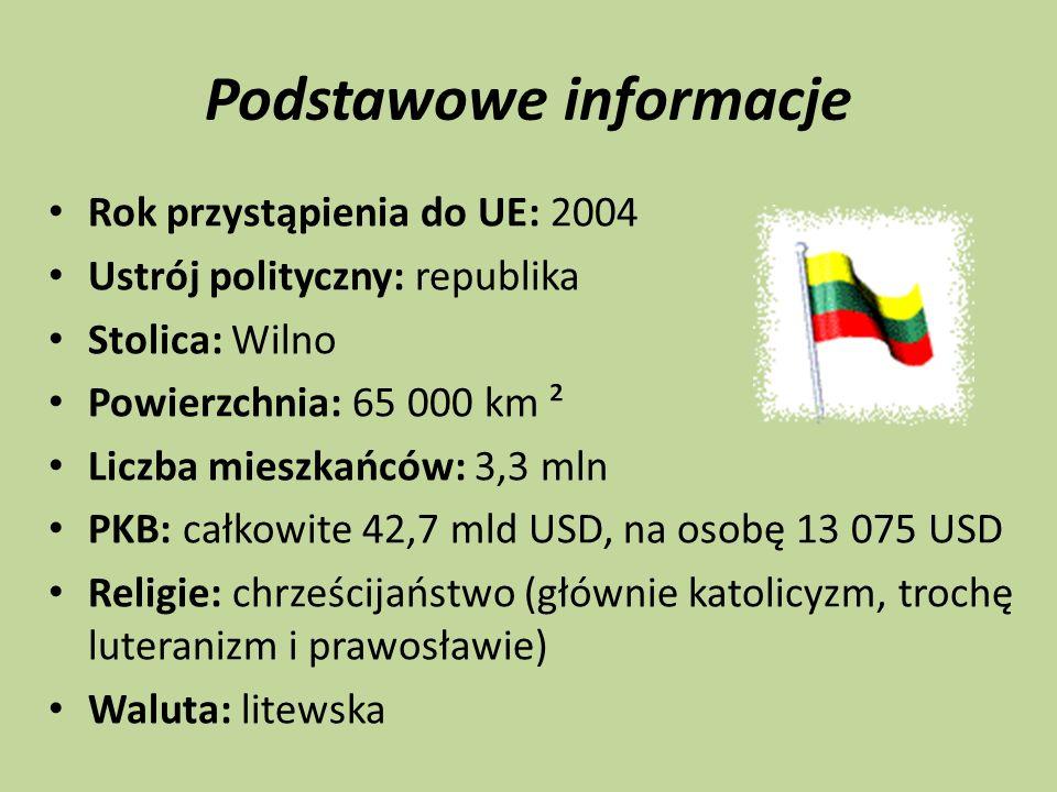 Podstawowe informacje Rok przystąpienia do UE: 2004 Ustrój polityczny: republika Stolica: Wilno Powierzchnia: 65 000 km ² Liczba mieszkańców: 3,3 mln