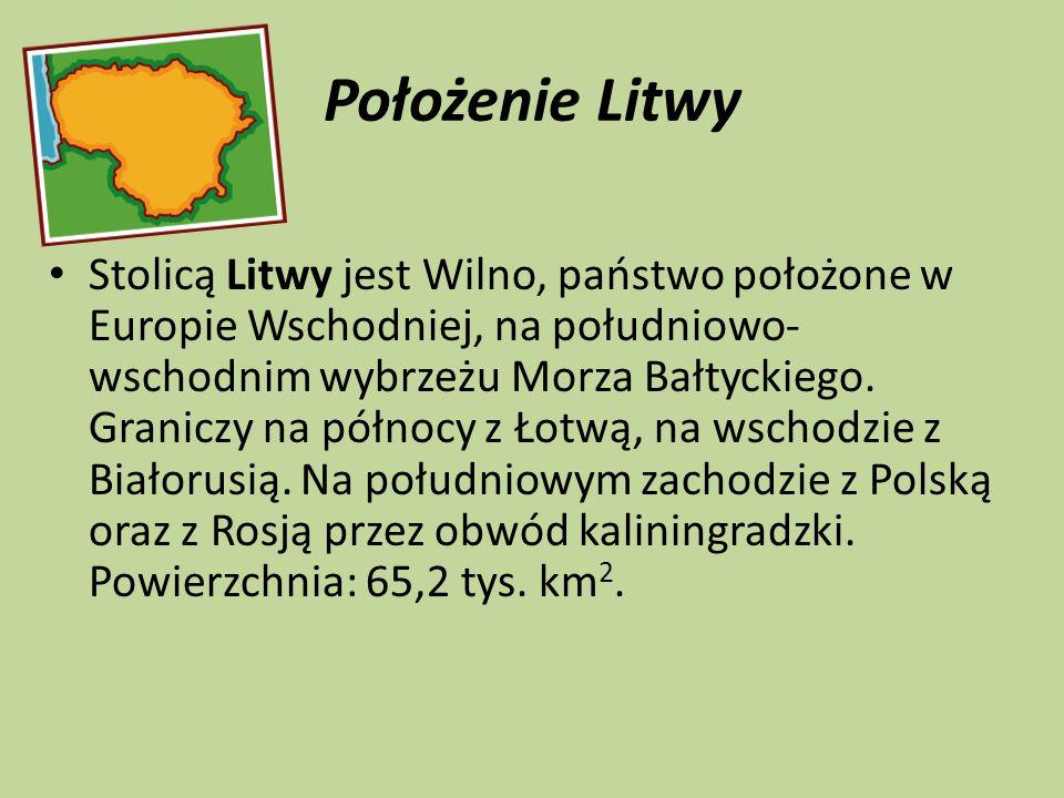 Położenie Litwy Stolicą Litwy jest Wilno, państwo położone w Europie Wschodniej, na południowo- wschodnim wybrzeżu Morza Bałtyckiego. Graniczy na półn