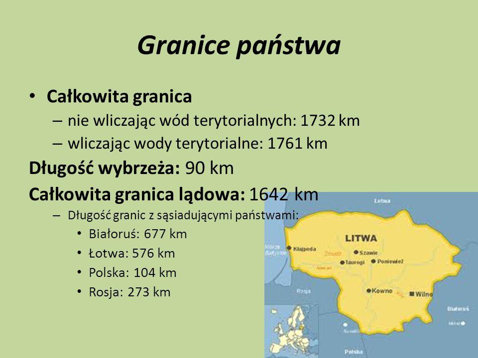 Granice państwa Całkowita granica – nie wliczając wód terytorialnych: 1732 km – wliczając wody terytorialne: 1761 km Długość wybrzeża: 90 km Całkowita