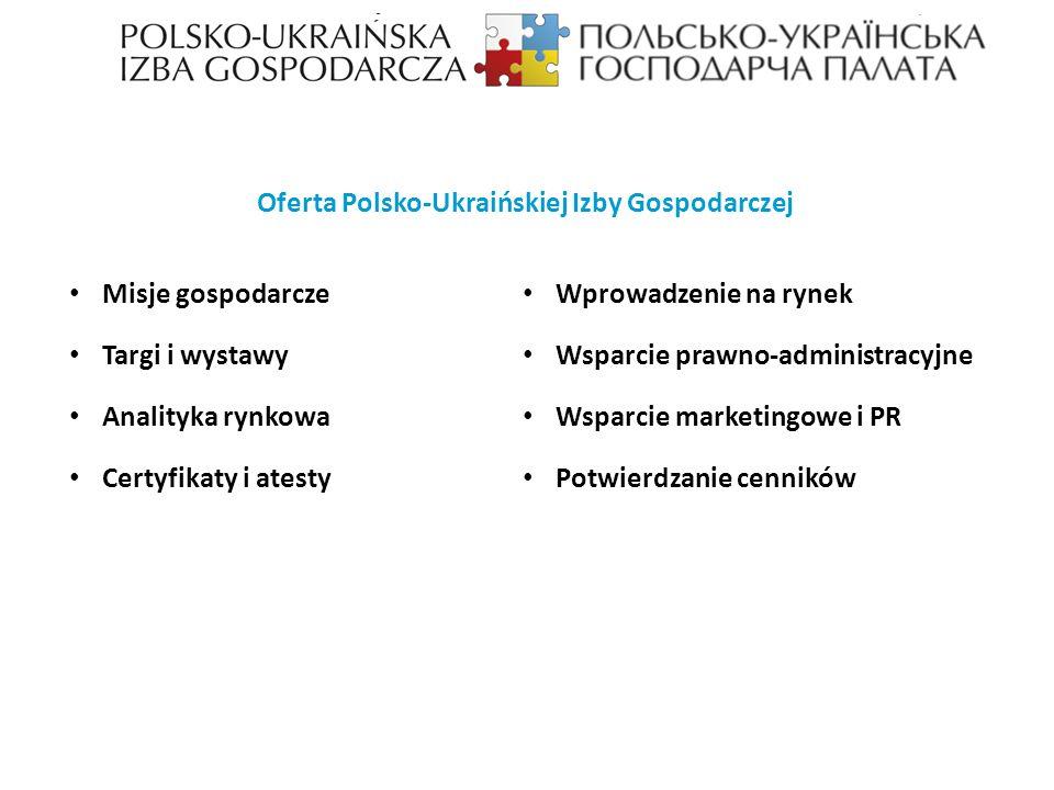 Misje gospodarcze Targi i wystawy Analityka rynkowa Certyfikaty i atesty Wprowadzenie na rynek Wsparcie prawno-administracyjne Wsparcie marketingowe i