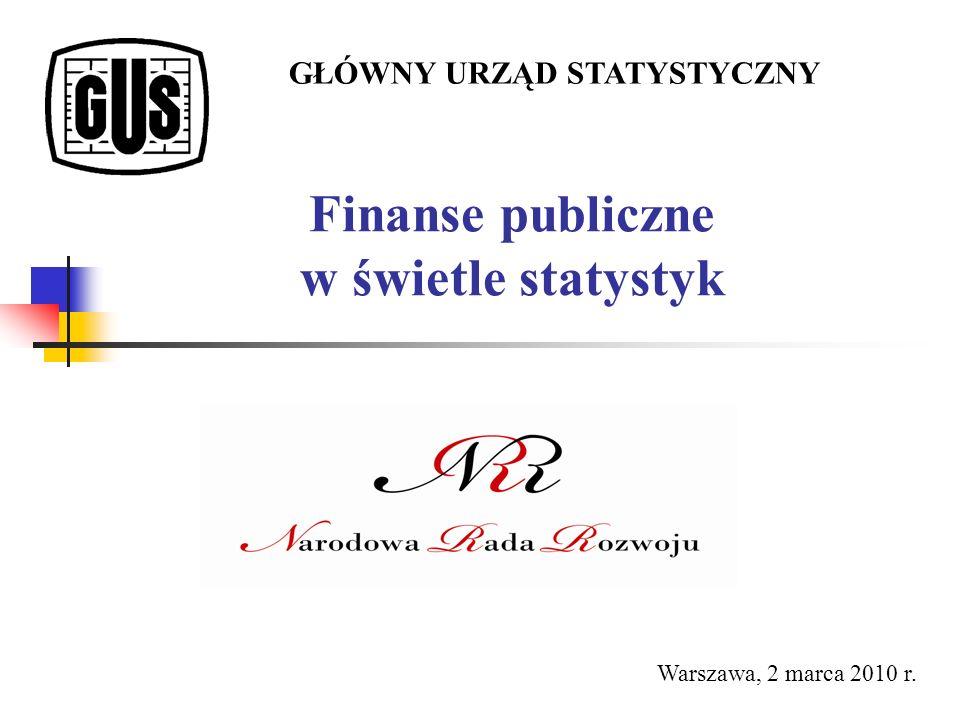 Finanse publiczne w świetle statystyk GŁÓWNY URZĄD STATYSTYCZNY Warszawa, 2 marca 2010 r.