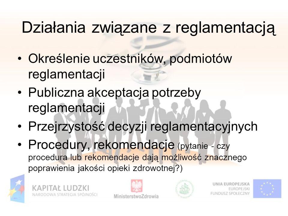 Działania związane z reglamentacją Określenie uczestników, podmiotów reglamentacji Publiczna akceptacja potrzeby reglamentacji Przejrzystość decyzji r