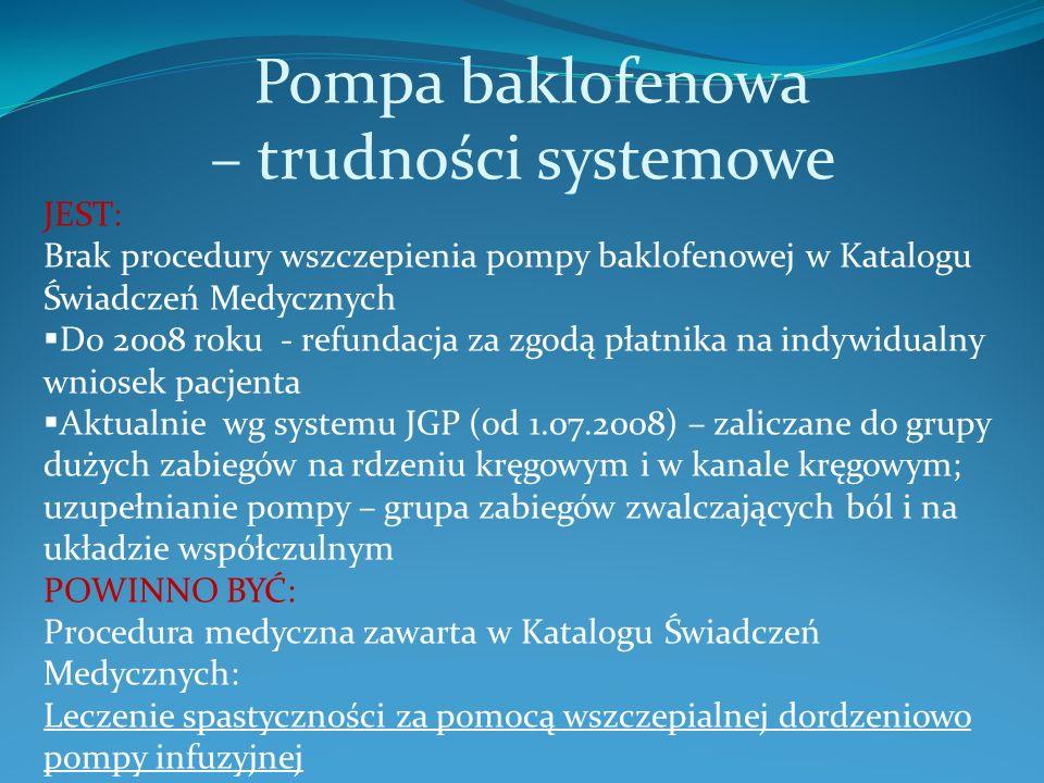 Pompa baklofenowa – trudności systemowe JEST: Brak procedury wszczepienia pompy baklofenowej w Katalogu Świadczeń Medycznych Do 2008 roku - refundacja