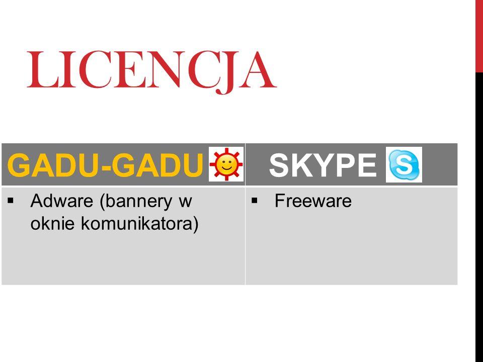 LICENCJA GADU-GADU SKYPE Adware (bannery w oknie komunikatora) Freeware