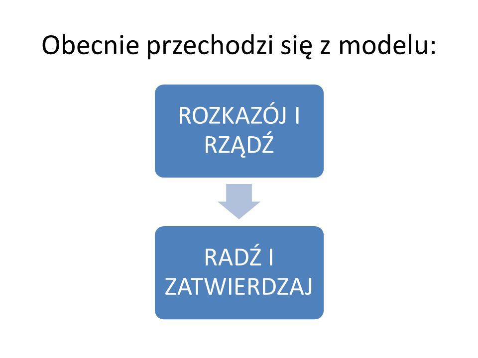Obecnie przechodzi się z modelu: ROZKAZÓJ I RZĄDŹ RADŹ I ZATWIERDZAJ