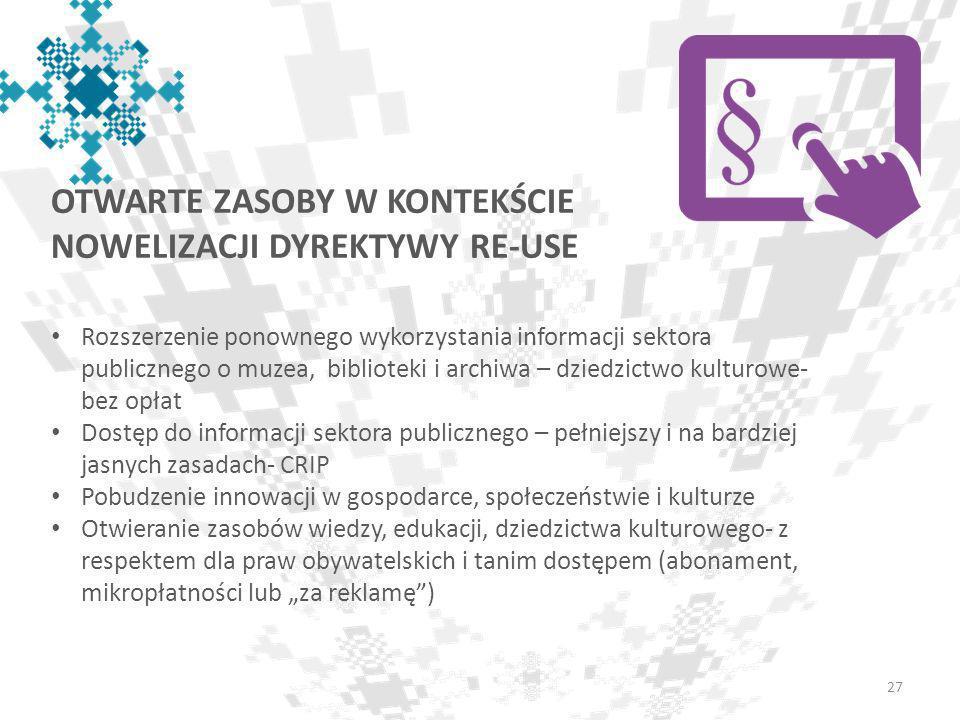 OTWARTE ZASOBY W KONTEKŚCIE NOWELIZACJI DYREKTYWY RE-USE 27 Rozszerzenie ponownego wykorzystania informacji sektora publicznego o muzea, biblioteki i