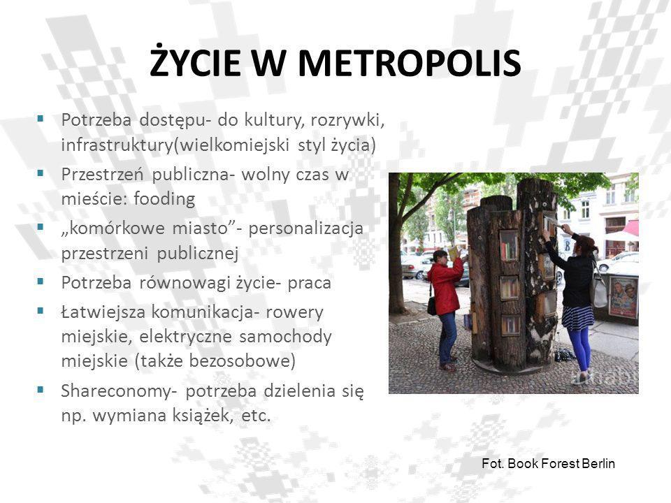 ŻYCIE W METROPOLIS Potrzeba dostępu- do kultury, rozrywki, infrastruktury(wielkomiejski styl życia) Przestrzeń publiczna- wolny czas w mieście: foodin