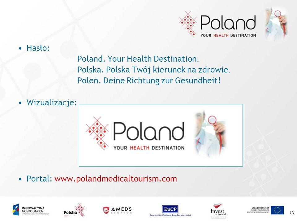10 Hasło: Poland. Your Health Destination. Polska. Polska Twój kierunek na zdrowie. Polen. Deine Richtung zur Gesundheit! Wizualizacje: Portal: www.po