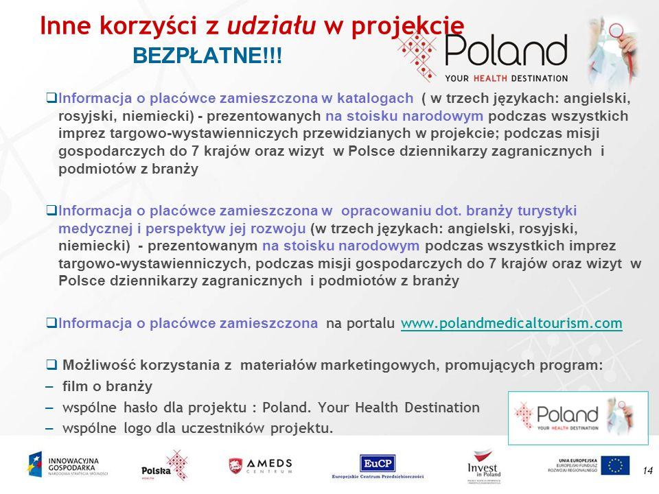 14 Inne korzyści z udziału w projekcie BEZPŁATNE!!! Informacja o placówce zamieszczona w katalogach ( w trzech językach: angielski, rosyjski, niemieck
