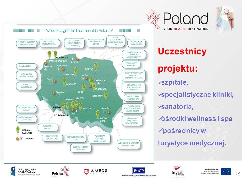 17 Uczestnicy projektu: szpitale, specjalistyczne kliniki, sanatoria, ośrodki wellness i spa pośrednicy w turystyce medycznej.