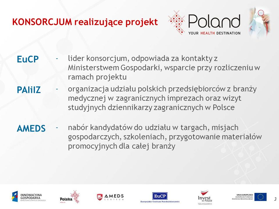3 KONSORCJUM realizujące projekt EuCP -lider konsorcjum, odpowiada za kontakty z Ministerstwem Gospodarki, wsparcie przy rozliczeniu w ramach projektu