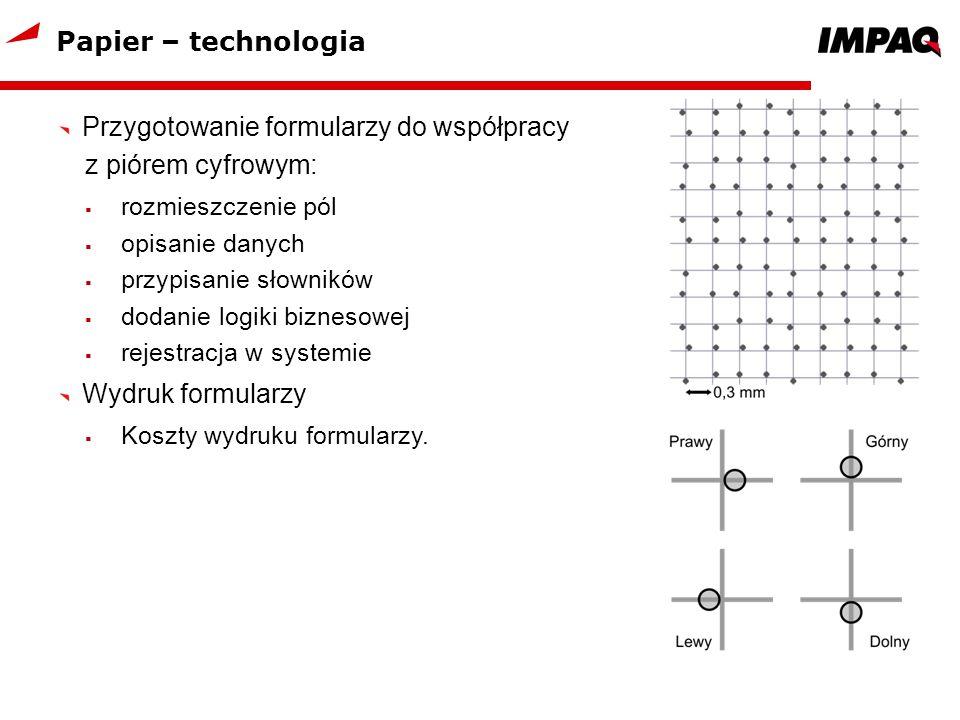 Papier – technologia Przygotowanie formularzy do współpracy z piórem cyfrowym: rozmieszczenie pól opisanie danych przypisanie słowników dodanie logiki