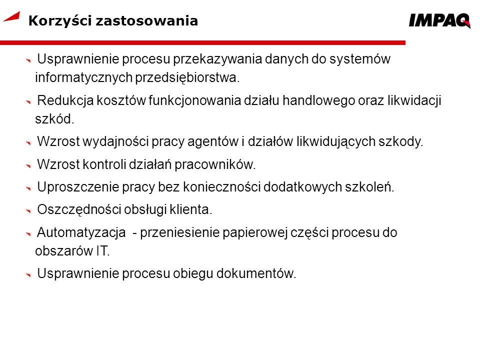 Korzyści zastosowania Usprawnienie procesu przekazywania danych do systemów informatycznych przedsiębiorstwa. Redukcja kosztów funkcjonowania działu h