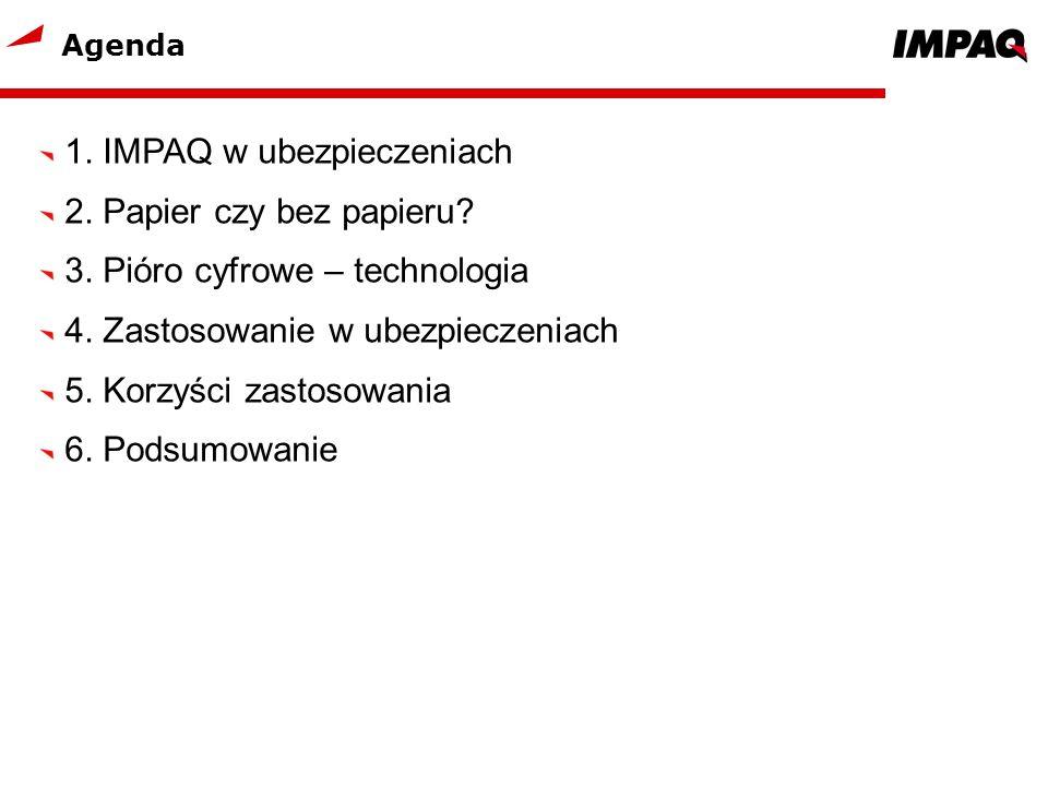 Agenda 1. IMPAQ w ubezpieczeniach 2. Papier czy bez papieru? 3. Pióro cyfrowe – technologia 4. Zastosowanie w ubezpieczeniach 5. Korzyści zastosowania