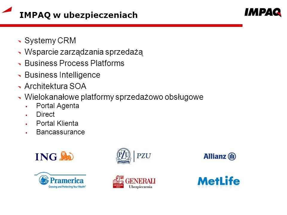 IMPAQ w ubezpieczeniach Systemy CRM Wsparcie zarządzania sprzedażą Business Process Platforms Business Intelligence Architektura SOA Wielokanałowe pla