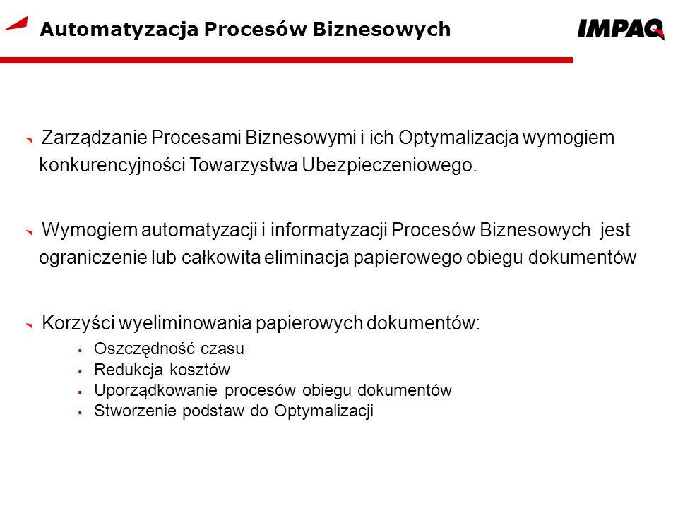 Automatyzacja Procesów Biznesowych Zarządzanie Procesami Biznesowymi i ich Optymalizacja wymogiem konkurencyjności Towarzystwa Ubezpieczeniowego. Wymo