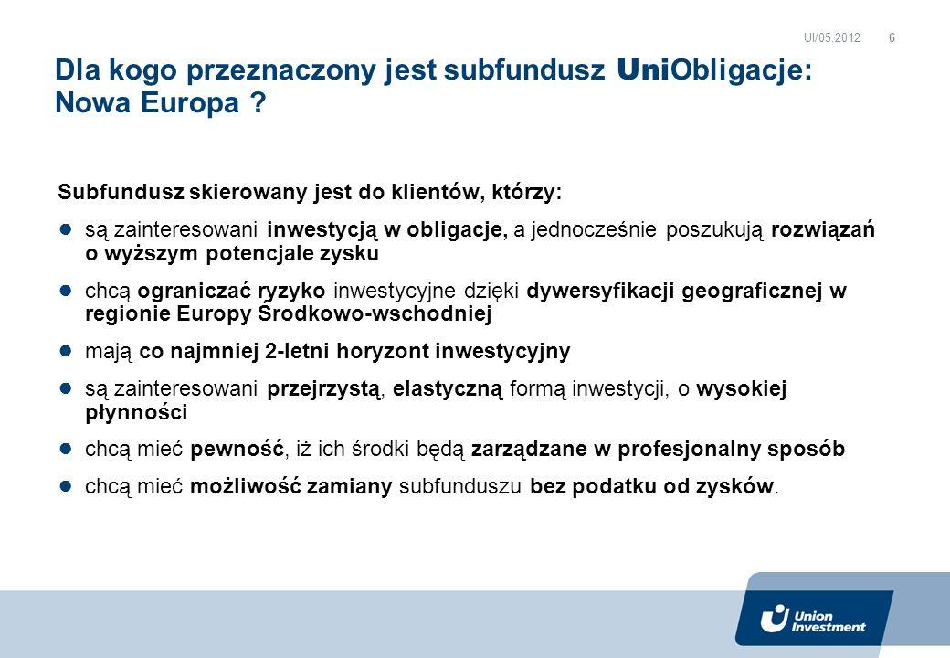 Subfundusz skierowany jest do klientów, którzy: są zainteresowani inwestycją w obligacje, a jednocześnie poszukują rozwiązań o wyższym potencjale zysku chcą ograniczać ryzyko inwestycyjne dzięki dywersyfikacji geograficznej w regionie Europy Środkowo-wschodniej mają co najmniej 2-letni horyzont inwestycyjny są zainteresowani przejrzystą, elastyczną formą inwestycji, o wysokiej płynności chcą mieć pewność, iż ich środki będą zarządzane w profesjonalny sposób chcą mieć możliwość zamiany subfunduszu bez podatku od zysków.