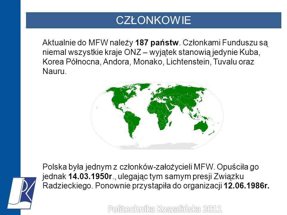 CZŁONKOWIE Aktualnie do MFW należy 187 państw. Członkami Funduszu są niemal wszystkie kraje ONZ – wyjątek stanowią jedynie Kuba, Korea Północna, Andor