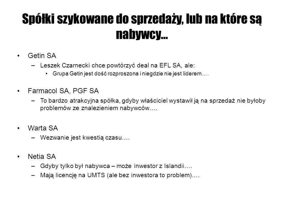 Spółki szykowane do sprzedaży, lub na które są nabywcy… Getin SA –Leszek Czarnecki chce powtórzyć deal na EFL SA, ale: Grupa Getin jest dość rozproszo